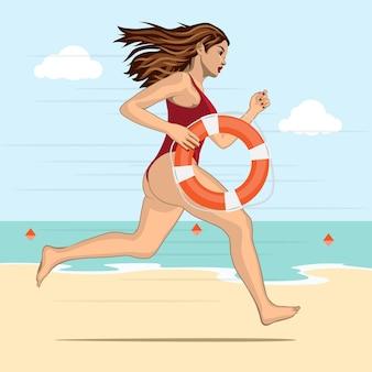 Running vrouw - badmeester in een rood pak zwemmen met reddingsboei op een water-achtergrond
