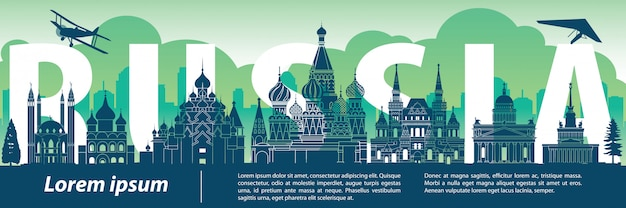 Rusland beroemd oriëntatiepuntsilhouet
