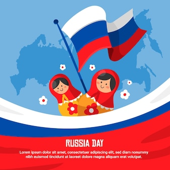 Rusland dag hand getekend ontwerp