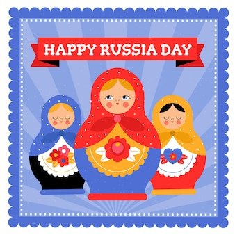 Rusland dag illustratie stijl