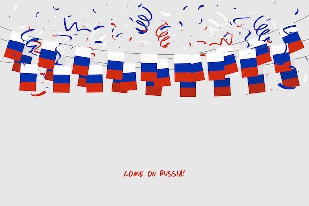 Rusland garland vlag met confetti op grijze achtergrond.