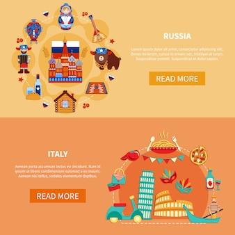 Rusland italië toeristische banners