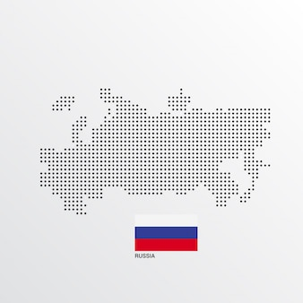 Rusland kaartontwerp met vlag en lichte achtergrond vector