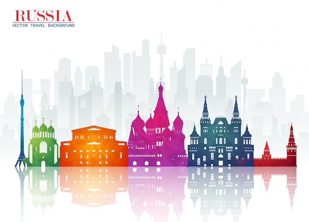 Rusland oriëntatiepunt wereldwijde reizen en reis paper achtergrond Premium Vector