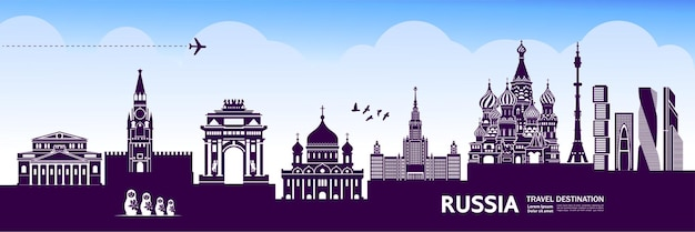 Rusland reisbestemming grote illustratie.