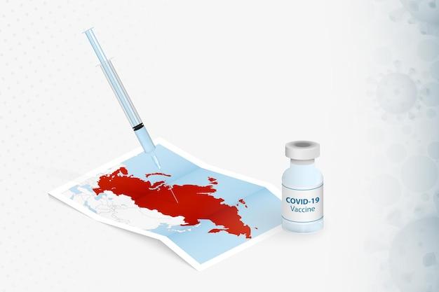 Rusland vaccinatie, injectie met covid-19-vaccin op de kaart van rusland.