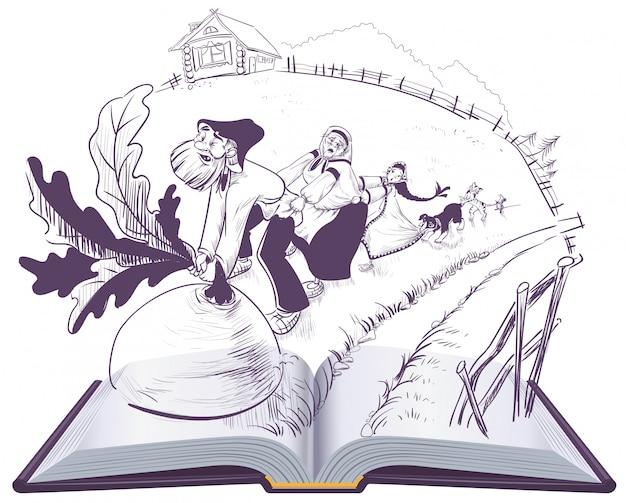 Russisch verhaal van raap open boek cartoon illustratie