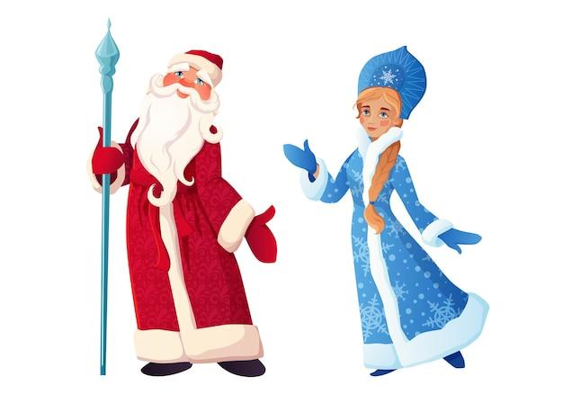 Russische kerstman met snow maiden ded moroz en snegurochka