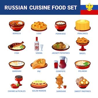 Russische keuken gerechten plat pictogrammen collectie