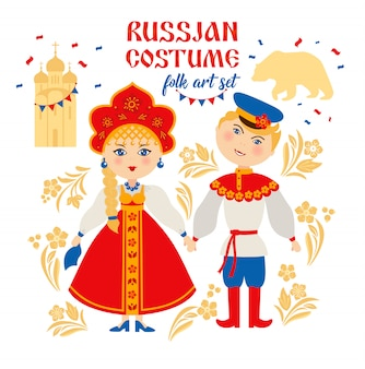 Russische mensen in volkskostuum