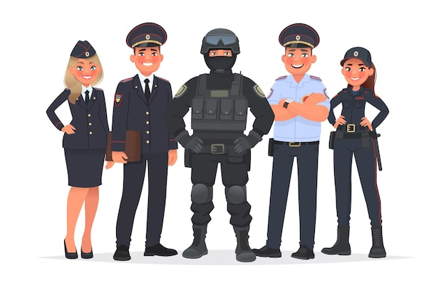 Russische politieagenten op een witte achtergrond. vectorillustratie in cartoon-stijl