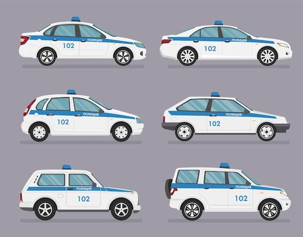 Russische politieauto. zijaanzicht op grijze achtergrond. vertaling - politie.