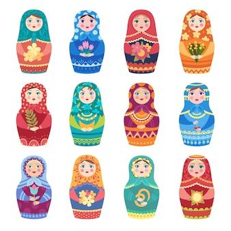 Russische poppen. authentieke traditionele speelgoed matryoshka kleine meisjes met botanische decoratie bloemen vector gekleurde collectie