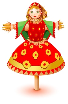 Russische stro beeltenis vrouw in traditionele kleding