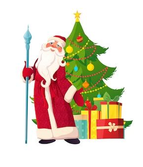 Russische vader vorst met stok in rode kleren versierde kerstboom geschenkdozen