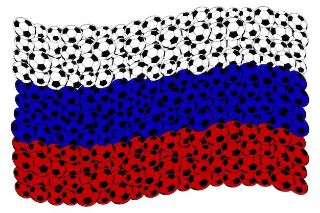 Russische vlag, bestaande uit voetbalballen in de kleuren wit, blauw en rood Premium Vector