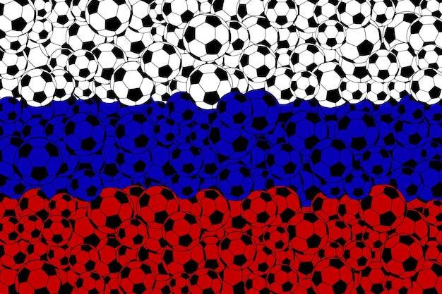 Russische vlag, bestaande uit voetbalballen in de kleuren wit, blauw en rood