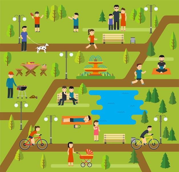 Rust in een openbaar park, kamperen in het park, picknicken, fietsen, wandelen
