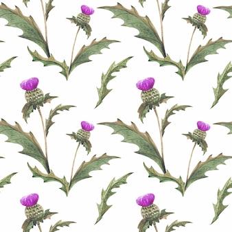Rust thistle flower-waterverf naadloos patroon