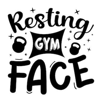 Rustend gym gezicht typografie premium vector design offertesjabloon