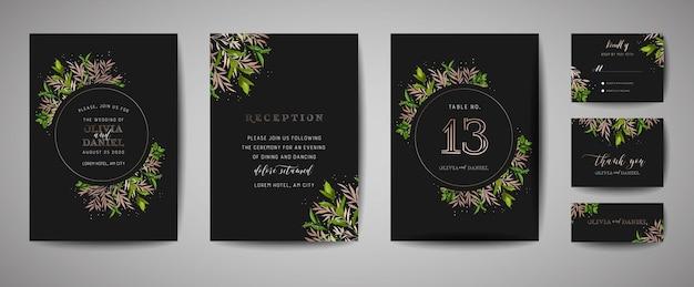 Rustiek bloemen vintage huwelijk bewaart de datum, de inzameling van uitnodigingskaarten met goudfolie. vector trendy omslag, grafische poster, retro brochure, ontwerpsjabloon