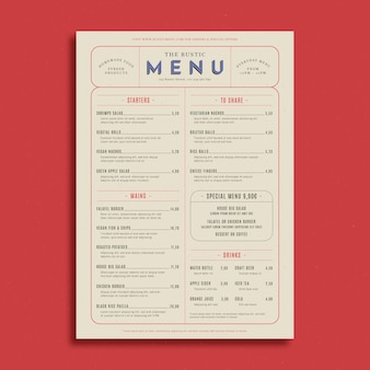 Rustiek restaurant menusjabloon