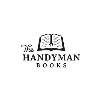 Rustiek retro logo ontwerp voor klusjesman en boek