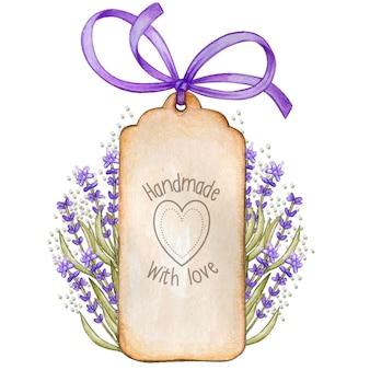 Rustieke aquarel shabby chic lavendel vintage tag