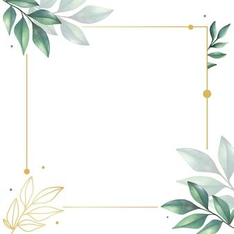 Rustieke bladeren aquarel frame achtergrond voor bruiloft uitnodiging sjabloon