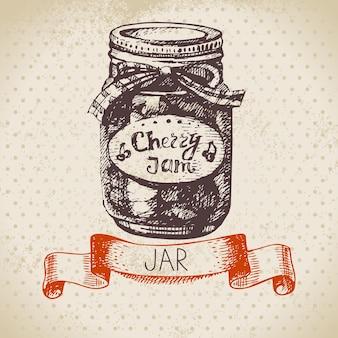 Rustieke inblikkende pot met kersenjam. vintage hand getrokken schets ontwerp. vector illustratie