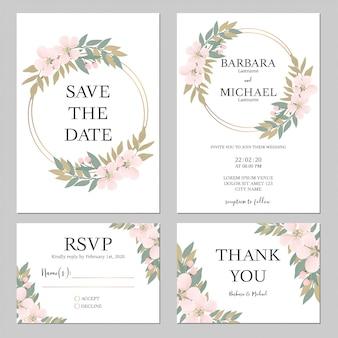 Rustieke kersenbloesem bruiloft uitnodiging sjabloon