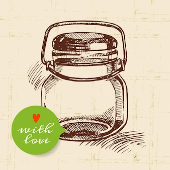 Rustieke metselaar inblikken pot. vintage hand getrokken schets ontwerp. vector illustratie