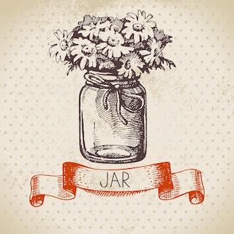 Rustieke pot met kamille boeket. vintage hand getrokken schets ontwerp. vector illustratie