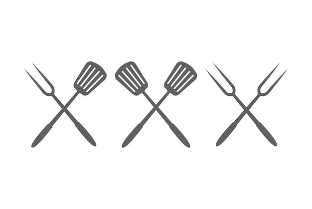 Rustieke retro vintage gekruiste vork en spatel voor bbq barbecue grill logo design vector