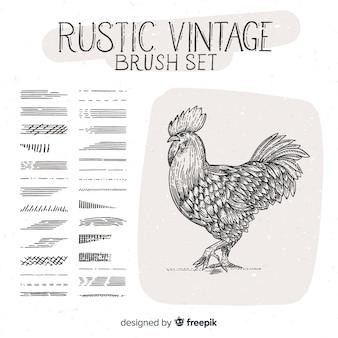 Rustieke vintage penseel set