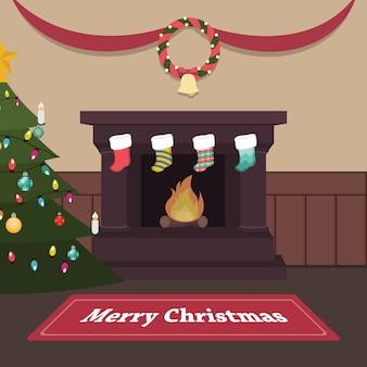 Rustige kerst binnenscène met open haard en kousen