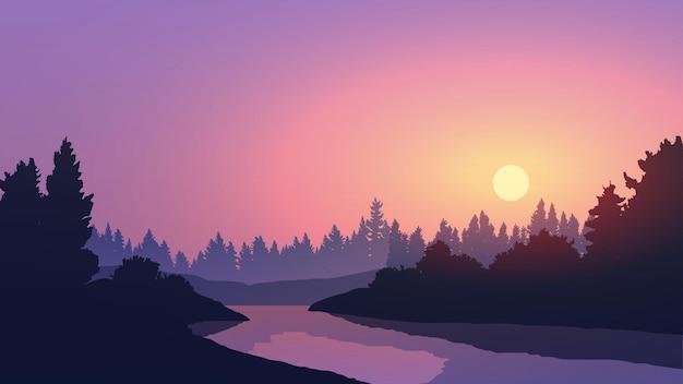 Rustige zonsondergang in bos met rivier