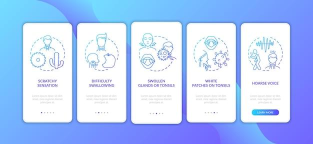 Ruwe keel symptomen onboarding mobiele app-paginascherm met concepten