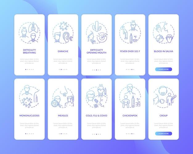Ruwe keelcomplicaties bij het onboarding van het mobiele app-paginascherm met ingestelde concepten