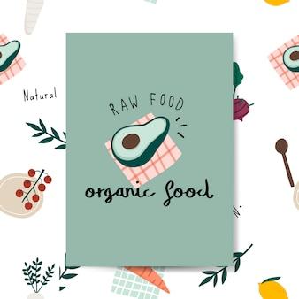 Ruwe natuurvoeding avocado kaart vector