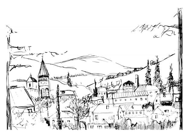 Ruwe zwart-wit schets van kleine oude georgische stad, gebouwen en bomen tegen hoge bergen op de achtergrond. tekening van landschap met nederzetting op heuvel. illustratie.