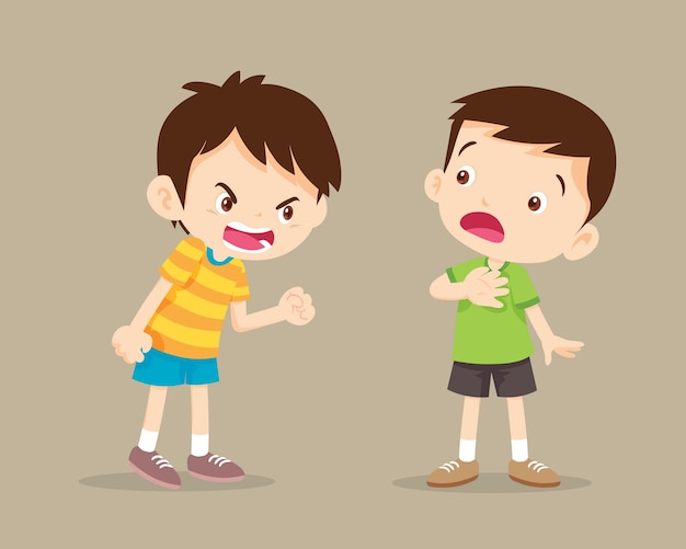 Ruzie met kinderen. boze jongen die tegen vriend schreeuwt.