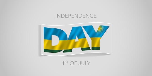 Rwanda happy onafhankelijkheidsdag banner rwandese golvende vlag in niet-standaard ontwerp voor de nationale feestdag van 1 juli
