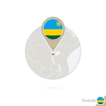 Rwanda-kaart en vlag in cirkel. kaart van rwanda, de vlagspeld van rwanda. kaart van rwanda in de stijl van de wereld. vectorillustratie.