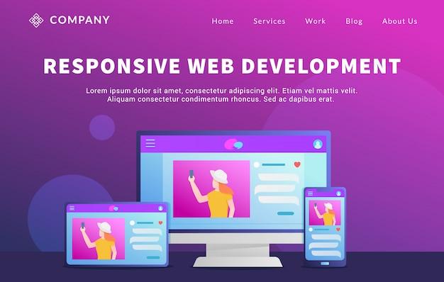 Rwd responsive website ontwikkelingsconcept met verschillende computerdesktopschermen en tabletsmartphone