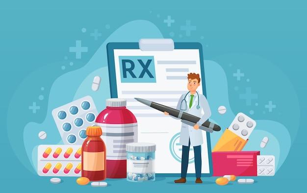 Rx medisch recept. dokter schrijft handtekening in recept, pillen voor ziektetherapie, pijnstillers