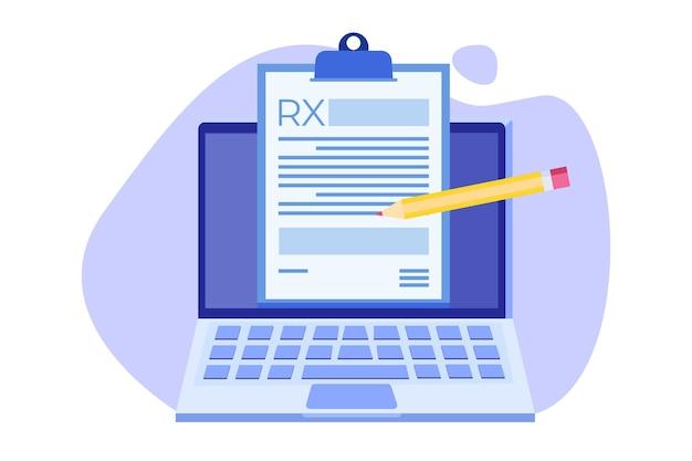 Rx-receptformulier op klembord op laptop. online kliniek concept.