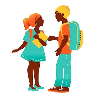 Sсhool jongen en meisje. vintage student silhouetten. terug naar school illustratie