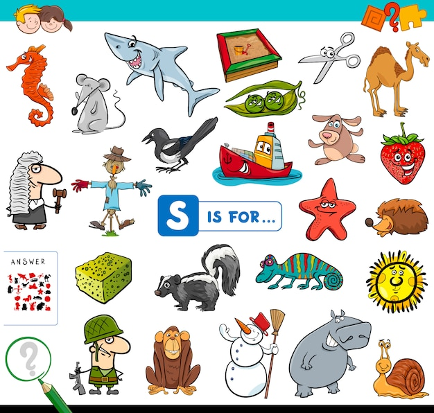 S is voor educatief spel voor kinderen