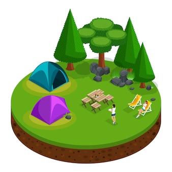 S kamperen, openluchtrecreatie, ontspannende meisjes, natuur, meer, bos, tent, vreugdevuur, bergen, bomen